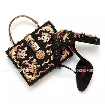 Decorated Black Buckle Bag
