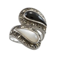 Sterling Silver Onyx & Mother-of-Pearl Ring (Black)