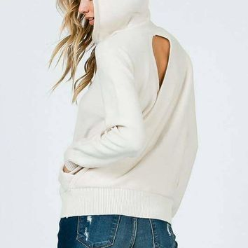 Open Back Hoodie Pullover Sweater - Cream