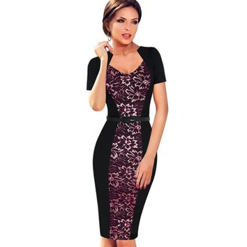 Vfemage Womens Elegant Vintage Flower Floral Lace Optical Illusion Pinup Tunic Belted Work Office Party Pencil Sheath Dress 2010