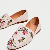 FLAT FLORAL EMBROIDERED SHOES