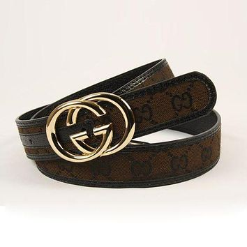 GUCCI Fashion Woman Men Fashion Smooth Buckle Belt Leather Belt G