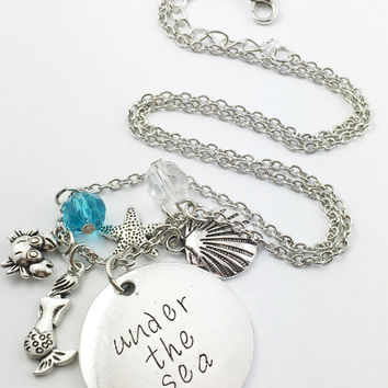 "Little Mermaid Ariel ""under the sea,"" hand stamped necklace"
