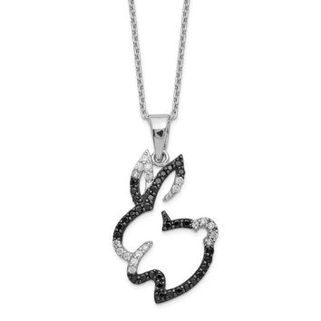 Sterling Silver CZ Bunny 18in Necklace