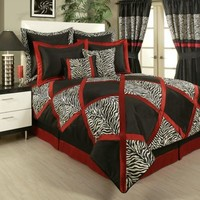 Sherry Kline Zebra Comforter Set in Black/Red