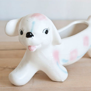 Vintage Wiener Dog Planter Figurine, Pink and Blue Baby's Room Decor Patchwork Dachshund Dog