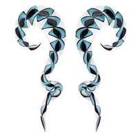 BodyJ4You Glass Spiral Taper Blue Black Ribbon Teardrop Ear Gauge 14mm Piercing Jewelry