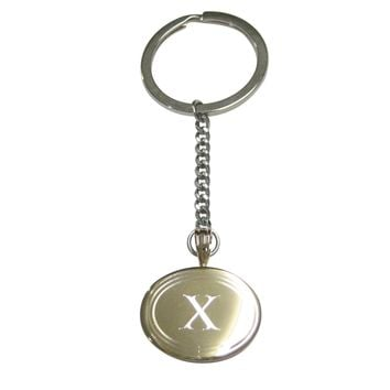 Gold Toned Etched Oval Letter X Monogram Pendant Keychain