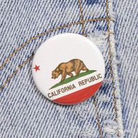 California Flag 1.25 Inch Pin Back Button Badge