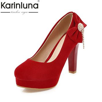 KARINLUNA High Quality 2018 Slip On Large Size 31-44 Black Red Women Shoes Woman Fashion Bowtie High Heels Party Wedding Pumps