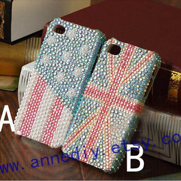 iphone 4 case,us flag iphone 5 cover case, uk flag iphone 4s case, full crystals iphone 5 cover skin