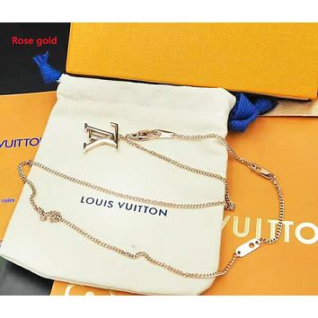 LV Louis Vuitton Fashion New Letter Women Men Personality Necklace Accessories Rose Gold