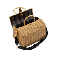 Fendi Straw Wicker Handbag With Leather Case NEW
