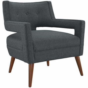 Gray Sheer Fabric Armchair