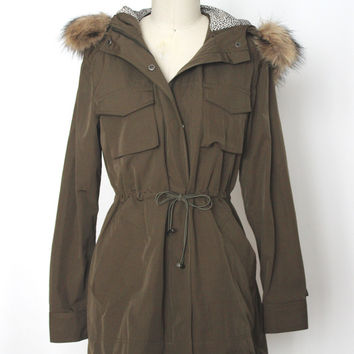 Military Green Parka With Fur Trim (Ark & Co.)