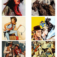 "vintage cowboys cowgirls art collage sheet 3.5"" squares clip art digital download graphics images country western art printables"