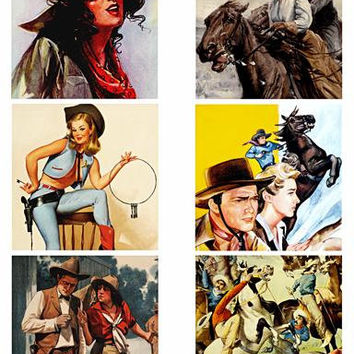 """vintage cowboys cowgirls art collage sheet 3.5"""" squares clip art digital download graphics images country western art printables"""