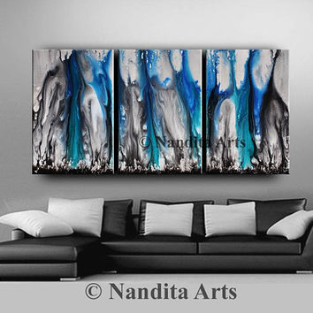 BLUE ABSTRACT ART, Blue Painting, Blue wall art, blue artwork Coastal Painting Teal Wall Decor Acrylic Painting Gift for Women Gift for Mom