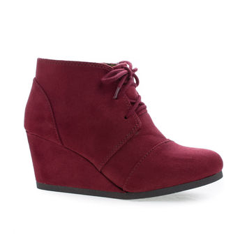 Rex Burgundy F-Suede by Classified, Burgundy Suede Lace up Oxford Ankle Bootie