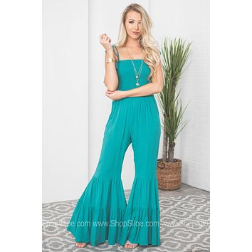 Bell Bottom Tiered Tassel Jumpsuit
