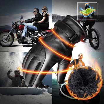 Leather Gloves Men And Women Winter Ride Plus Velvet Padded Warm Student Riding Motorcycle Gloves Touch Screen