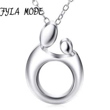 Baby Mother Necklace for Women Cute Baby Mom Hug Heart Love Necklace 925 Sterling Silver Minimalist Jewelry New Mothers Day Gift