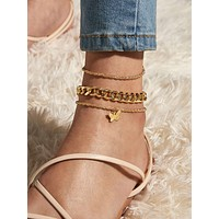 3pcs Butterfly Charm Chain Anklet