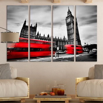 Black and White London Wall Art Gift / London Fine Art Photography Photo on Canvas Wall Decor Gift for Home / Red Bus England Wall Art Décor