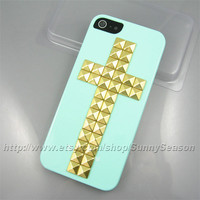 IPhone 5 case,Mint Green Cross Studded iPhone 5 Case,Golden Pyramid Studs iPhone Hard Case
