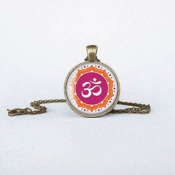 Om shanti om Pendant Hindu Aum Sign Necklace Indian omkara aumkara Jewelry om syllable Birthday Gift Glass Bronze Pendant Hinduism cb139