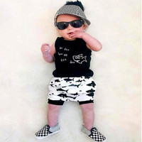 Runqi New Fashion Baby Boy Clothing Summer Baby Boys Clothing Set Sleeveless Fish Printing Black Baby Clothes