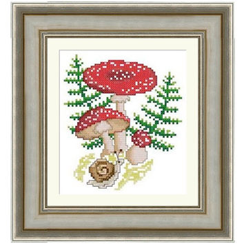 Mushrooms (Amanita) - PDF Cross Stitch Pattern - INSTANT DOWNLOAD