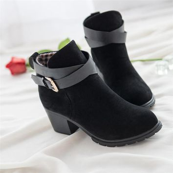 thermal comfortable buckle boots thick heel nu buck leather short boots