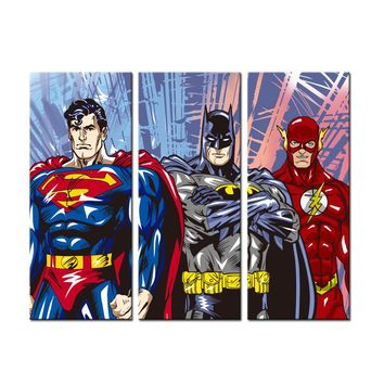 3 Pieces Canvas Painting Superhero Modern Art Wall Decor Canvas HD Print Pictures Unframed