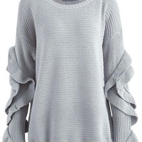 Flare Ruffle Sleeve Knitted Sweater