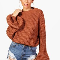 Natasha Chunky Balloon Sleeve Knitted Crop Jumper | Boohoo