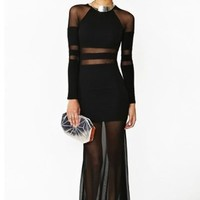 Black Mesh Cut Out Detail BodyCon Long Sleeve Transparent Long Maxi Dress