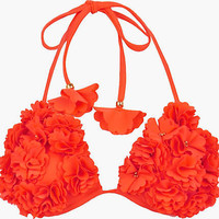 Coral floral moulded cup bikini top