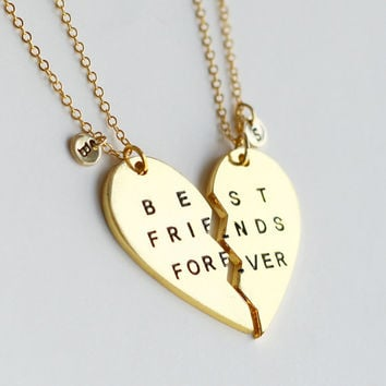 gold best friends forever necklace, best friend initial jewrlry, broken heart set, friendship necklace, Christmas gift, best bitches jewelry