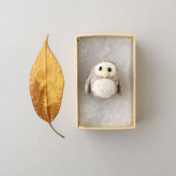 Little Needle Felted Owl - Wool Animal - Baby Shower Owl Favor