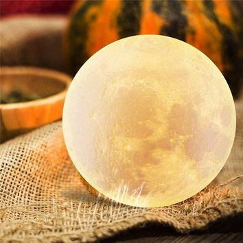 13CM 3D Moon Lamp USB LED 3 Colors Changing Night Light Table Desk Lamp