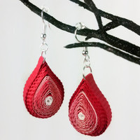 Red Drop Earrings Paper Quilling Earrings - paper quilled flame earrings, fire earrings, red earrings, red teardrop earrings, red fire drops