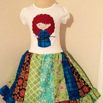 Merida Brave Cutie Appliqued T Shirt Dress Available from 12m to 14/16