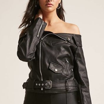 Off-the-Shoulder Faux Leather Moto Jacket