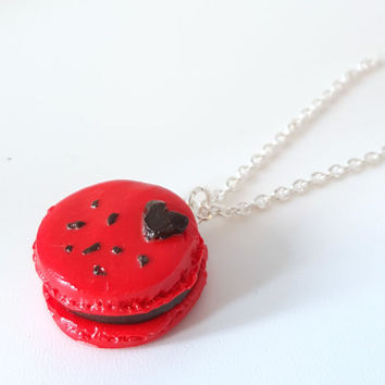 Miniature Red Macaron with Heart Necklace with Sterling Silver Chain