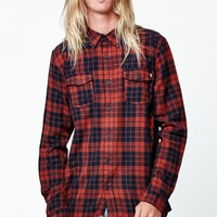 AMBIG Claude Plaid Flannel Long Sleeve Button Up Shirt - Mens Shirts - Red