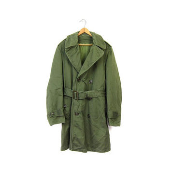 Drab Green 50s Army Trench Coat Military Overcoat with Liner Army Commando Pea Coat Grunge Vintage 1950s Mens Army Jacket Peacoat Small