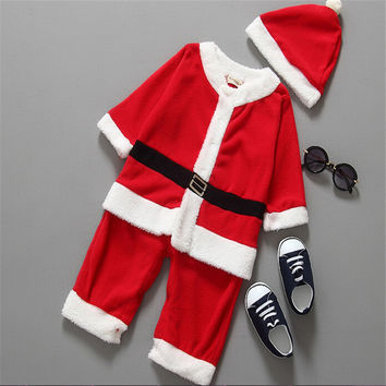 Baby Kid Boys Christmas Suits Xmas Santas Clothes Jumpsuits and Hat Cosplay Outfit