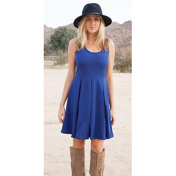 Crystal Fit/Flair Skater Dress Royal Blue Short Scoop Neck