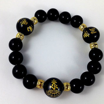Om  Bracelet, Lotus Bracelet, Prayer Beads, Gold Bracelet, Buddhist Mantra, Buddha Bracelet, Black and Gold Beaded Bracelet, Wrist Mala